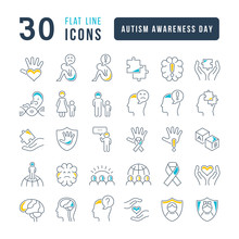 Vector Line Icons Of Autism Awareness Day
