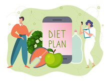 Diet Plan App Vector Illustration. Cartoon Adult Tiny Man Woman Character With Smartphone Dieting, Flat Happy People Planning Healthy Food Eating Through Mobile Planner, Concept Isolated On White