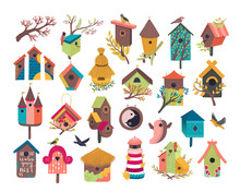 Decorative Bird House Vector I...