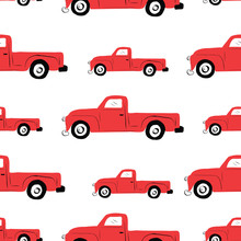 Seamless Repeat Retro Vintage Red Truck Pattern.