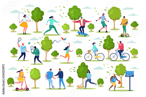 Photo People in sport outdoor activity vector illustration