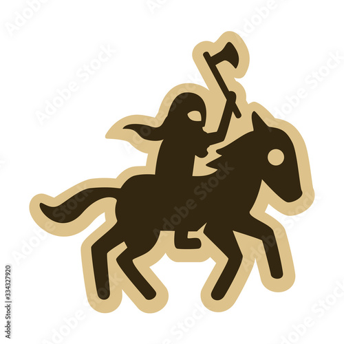 Fotomural Vector drawing of a charging viking horseman with an axe