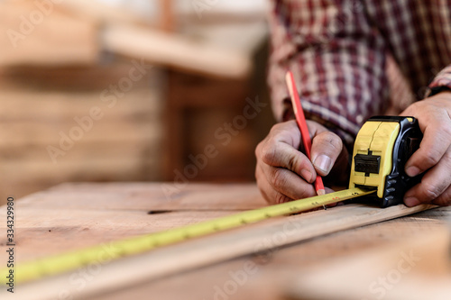 Carpenter working and DIY woodwork at home Fototapet