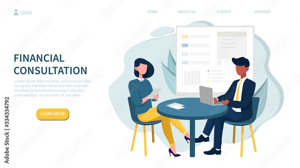 Fototapeta Illustrated financial consultation concept and people in meeting at table. Vector illustration