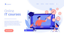 Teaching Students Online. Internet Learning. Computer Programming. Online IT Courses, Best Online IT Training, Online Certification Courses Concept. Website Homepage Landing Web Page Template.