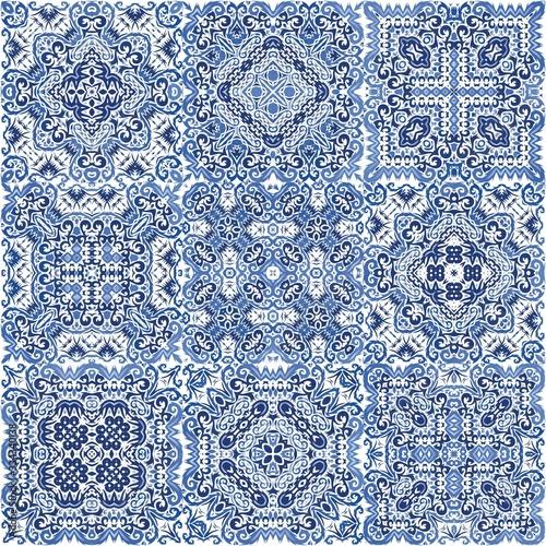 Portuguese ornamental azulejo ceramic. Canvas Print