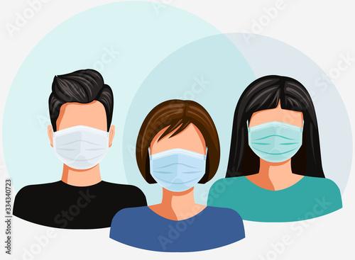 Face mask. Global pandemic. Wear surgical medical mask against  virus epidemic. Vector illustration