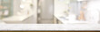 canvas print picture - Cropped shot of empty marble table in blurred kitchen room
