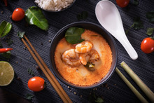 Tom Yum Goong Thai Hot Spicy Soup With Ingredients On Dark Background