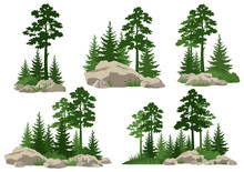 Set Landscapes, Isolated On Wh...
