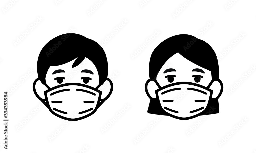 Fototapeta Man and Woman wearing medical face protection mask icon, face mask against coronavirus, allergy, pandemic epidemic infection and pollution concept, vector illustration icon.