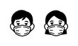 Man and Woman wearing medical face protection mask icon, face mask against coronavirus, allergy, pandemic epidemic infection and pollution concept, vector illustration icon.