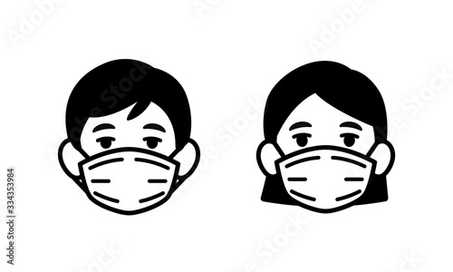 Obraz Man and Woman wearing medical face protection mask icon, face mask against coronavirus, allergy, pandemic epidemic infection and pollution concept, vector illustration icon. - fototapety do salonu