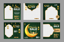 Set Of Ramadan Sale Banner Template. With Ornament Moon, Mosque, And Lantern Background. Suitable For Social Media Post, Instagram And Web Internet Ads. Vector Illustration With Photo College