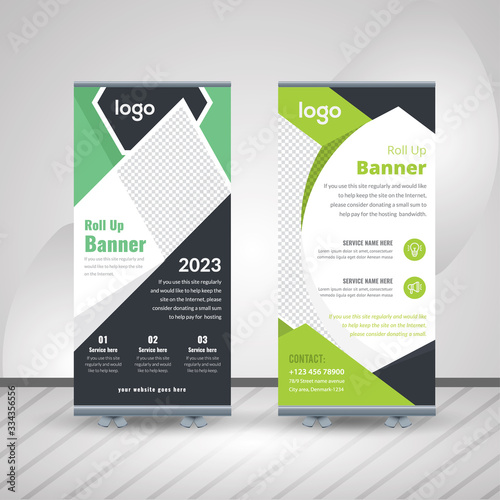 Roll-up for exhibitions, banner for seminar, layout for placement of photos Fototapet