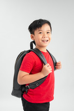 Back To School - Portrait Of Asian School Boy Child Smiling With School Bag