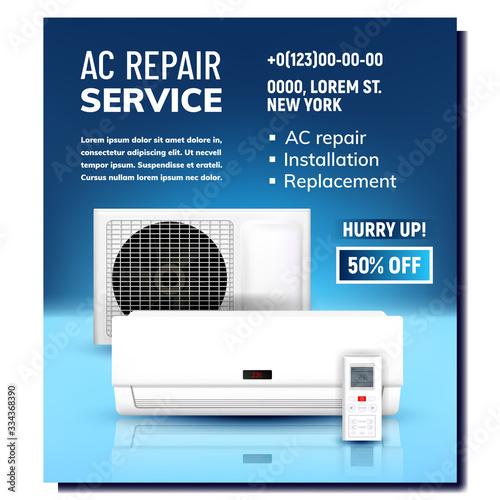 Air Conditioner Repair Service Promo Banner Vector Canvas Print