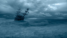 Sailing Old Ship In A Storm Se...