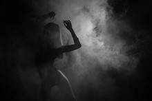 Female Silhouette Dancing In S...