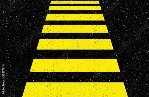 Fototapeta bandes jaunes sur asphalte