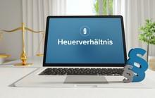 Heuerverhältnis – Recht, Gesetz, Internet. Laptop Im Büro Mit Begriff Auf Dem Monitor. Paragraf Und Waage.