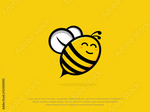 happy bee logo. character. modern design. vector illustration Canvas Print