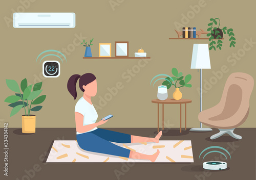 Tablou Canvas Smart climate control flat color vector illustration