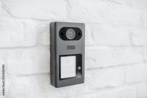 Fotografie, Obraz House intercom with a camera on the brick wall outdooors