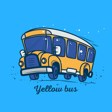 Yellow School Bus In Motion In...