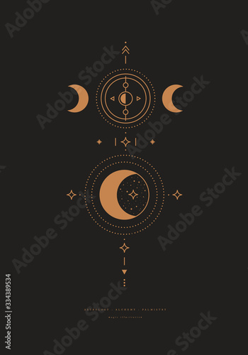Mystical composition with a crescent and stars on a dark background Wallpaper Mural