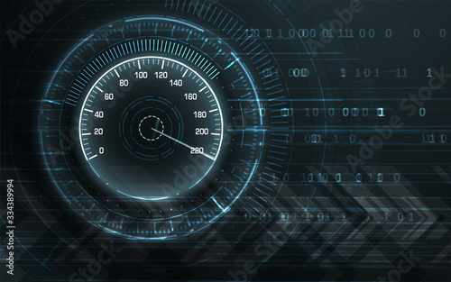 Speed motion background with speedometer car Wallpaper Mural