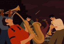 Team Of Street Artistic People Playing On Musician Instrument At Night City. Jazz Band Classical Music Performers Vector Graphic Illustration. Male Guitarist, Saxophonist, Drum Player And Trumpeter