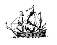 Vector Old Sailing Ship Silhouette Isolated On White Background. Hand Drawn Sailboat Vector Sketch.