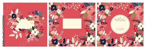 Fototapeta Beautiful romantic flower collection with roses, leaves, floral bouquets, flower compositions. Floral invitations and cards obraz