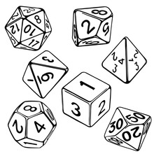 Collection Of Dice For Role-pl...