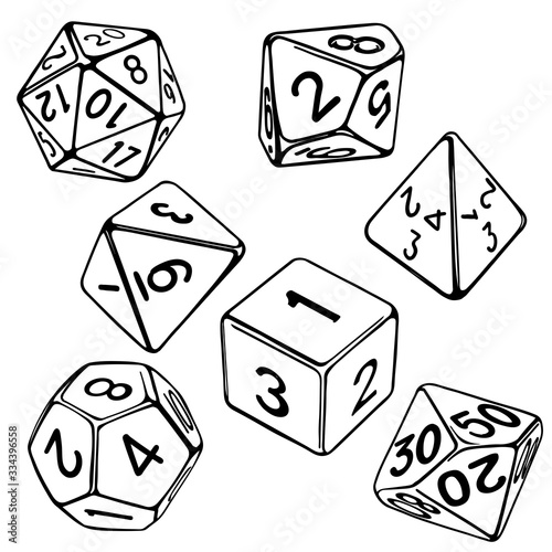 Foto collection of dice for role-playing games isolated on white background hand draw