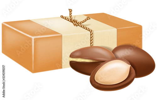 Natural handmade argan soap with argan nuts. Vector illustration. Wallpaper Mural