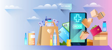 Online Pharmacy Banner With Sm...