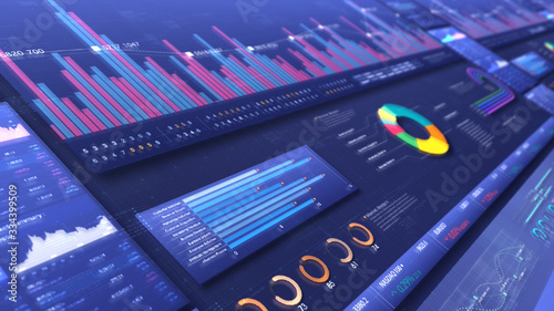 Business stock market, trading, info graphic with animated graphs, charts and data numbers insight analysis to be shown on monitor display screen for business meeting mock up theme