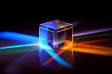A Glass Cube Reflects Many Colors