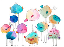 A Set Of Cute Watercolor Birdi...