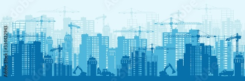 Fototapeta Detailed silhouette of colorful development urban background horizontal banner. Modern megapolis buildings under construction in process with industrial crane and excavator backdrop obraz