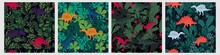 Set Of Various Colorful Seamless Pattern With Dinosaur And Tropical Leaves Plant. Collection Of Different Cute Unique Animals Surrounded By Green Leaf And Herb Growing Printable Background