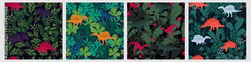 Fototapeta Set of various colorful seamless pattern with dinosaur and tropical leaves plant