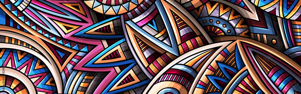 Fototapeta Abstract ethnic rug ornamental pattern. Vector vintage background.