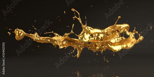 Stampa su Tela Gold Splash – Flüssiges Gold/Metall auf schwarzem Hintergrund, 3D-Rendering