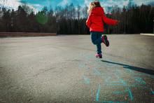 Little Girl Playing Hopscotch Outdoors, Kids Games