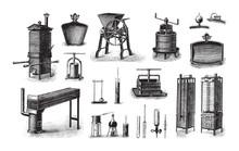 Old Fruit Processing Machine / Vintage Illustration From Brockhaus Konversations-Lexikon 1908