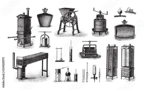 Photo Old fruit processing machine / vintage illustration from Brockhaus Konversations