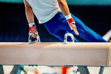 Gymnast Athlete Exercise On Pommel Horse Gymnastics